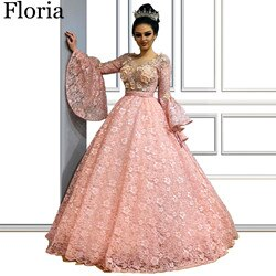2020 Luxury Pink Lace Celebrity Dress Muslim Formal Red Carpet Runaway Dress Flowers Turkish Pageant Gowns Dubai вечернее платье