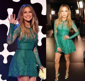 Elegant jennifer lopez Lace Evening Dress Long Sleeves Formal Holiday Wear Celebrity Party Gown Custom Made Plus Size
