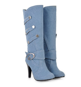 New arrivals women's boots fashion Denim Buckle Knee-High boots Round Toe  high heels long boots Button Knight boots women shoes