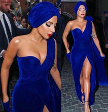 Load image into Gallery viewer, 2019 Lady Gaga Red Carpet Evening Dress Royal Blue Velvet Long Formal Holiday Celebrity Wear Prom Party Gown Plus Size