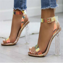 Load image into Gallery viewer, 2019 Women Sandals Shoes Celebrity Wearing Simple Style PVC Clear Transparent Strappy Buckle Sandals High Heels Shoes Woman