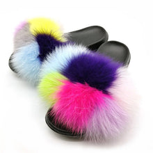 Load image into Gallery viewer, Party Fur Slippers Women Real Fox Fur Slides Furry Flat Sandals Female Cute Fluffy Shoes Woman Home Flip Flops Luxury Women Shoe