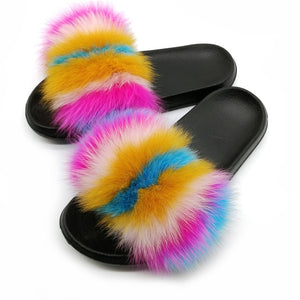 Party Fur Slippers Women Real Fox Fur Slides Furry Flat Sandals Female Cute Fluffy Shoes Woman Home Flip Flops Luxury Women Shoe