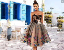 Load image into Gallery viewer, Arabic Short Nude Cocktail Dresses 2020 Off Shoulder Bow A-Line Tea Length Modest Prom Party Evening Gowns Cheap Custom Made