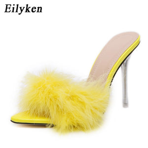 Eilyken Summer Sexy Pointed Toe Furry Slippers ladies Sandals Fashion Design Clear Perspex Heels Women Mules Shoes Fluffy Slides