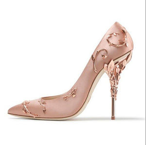Sexy Leaves Metal Heel Women Shoes Stunning Pink Satin Leather Wedding Shoes Bride High Heels Celebrating Dress Shoes Drop Ship