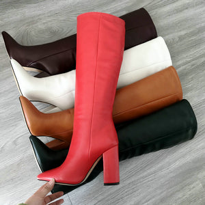 Faux Leather Chunky Heel Pointed Toe Knee High Boots Women Fashion Block Heel Long Boots Woman 2020 New Winter Shoes Black Green