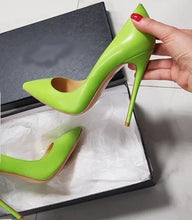 Load image into Gallery viewer, Top Brand Green Matte Leather Pumps Women Shoes Shallow Pointed Toe Stiletto High Heels Pumps 12cm Celebrity Wedding Shoes Bride