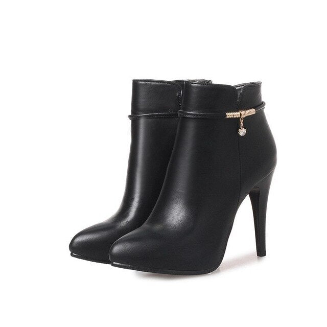 Women's Shoes Boots Fine With High With Short Boots Zipper Woman Boots Small Shoes