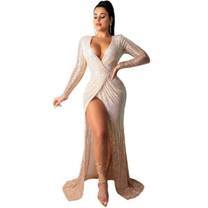 Women Sequin Dazzling Party Dress Long Sleeve Sexy V-Neck Overlay Ladies Elegant Vestido High Split Floor-Length Evening Clothes
