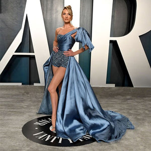 Oscars 2020 Candice Swanepoel Celebrity Red Carpet Pants High Low One Shoulder Formal Gown Evening Dress