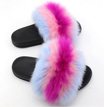 Load image into Gallery viewer, Women Furry Slippers Real Fox Fur Slides Women SlipFox Hair Sandals Ladies Fur Slippers Indoor Flat Shoes Woman