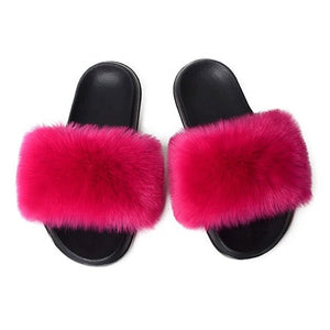 Women Furry Slippers Real Fox Fur Slides Women SlipFox Hair Sandals Ladies Fur Slippers Indoor Flat Shoes Woman