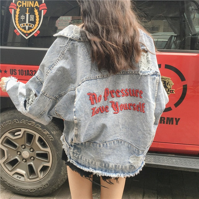 Vintage Letter Print Frayed Jeans Jacket Women Autumn Winter Ripped Hole denim Coat Female Bomber Jackets Chaqueta Mujer