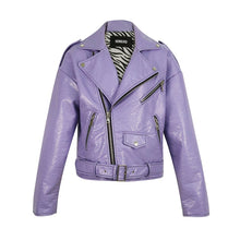 Load image into Gallery viewer, 2020 Spring New Style Korean-style Loose-Fit Locomotive High-waisted Short Leather Jacket Women Purple Blue Biker Coat HR5031