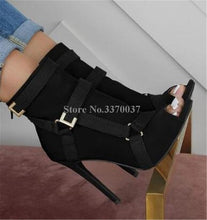Load image into Gallery viewer, New Design Women Fashion Peep Toe Suede Leather Stiletto Heel Short Boots Buckles Strap Black Army Green High Heel Ankle Booties