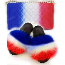 Load image into Gallery viewer, Fur Slides and Bags Fourrure Klapki Z Futerkiem Furry Slides for Women Fuzzy Slippers Peluche Socofy Summer Sandals Fluffy Slide