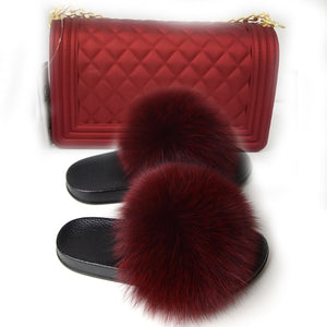 Fur Slides and Bags Fourrure Klapki Z Futerkiem Furry Slides for Women Fuzzy Slippers Peluche Socofy Summer Sandals Fluffy Slide