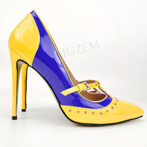 LAIGZEM Women Heels Metal Studs Pumps Patchwork Thin High Heels Party Sandals Salto Alto Shoes Woman Zapatos Large Size 44 46 47