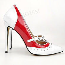 Load image into Gallery viewer, LAIGZEM Women Heels Metal Studs Pumps Patchwork Thin High Heels Party Sandals Salto Alto Shoes Woman Zapatos Large Size 44 46 47