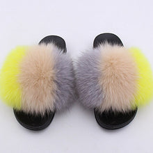 Load image into Gallery viewer, JKP Women's real fox fur slippers fashion women houses shoe indoor casual fluffy faux fur fox furry summer sandals slippers