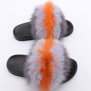 JKP Women's real fox fur slippers fashion women houses shoe indoor casual fluffy faux fur fox furry summer sandals slippers