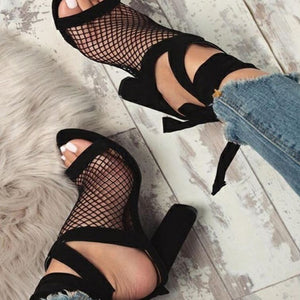 2019 Women Sandals Mesh Sexy Pumps High Heel Open Toe Ankle Strap Female Party Wedding Sandals Women Shoes Lace Up