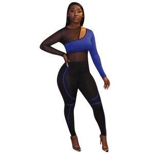 Echoine Sheer Mesh Patchwork Jumpsuit Women Hollow Out Sexy Bodycon Rompers Female Skinny Club Outfits Summer Playsuit Bodysuit