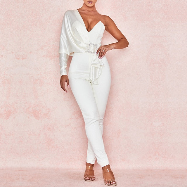 ADYCE 2020 New Autumn White One Shoulder Celebrity Evening Party Jumpsuit Romper Sexy V Neck Sash Long Sleeve Skinny Club Romper