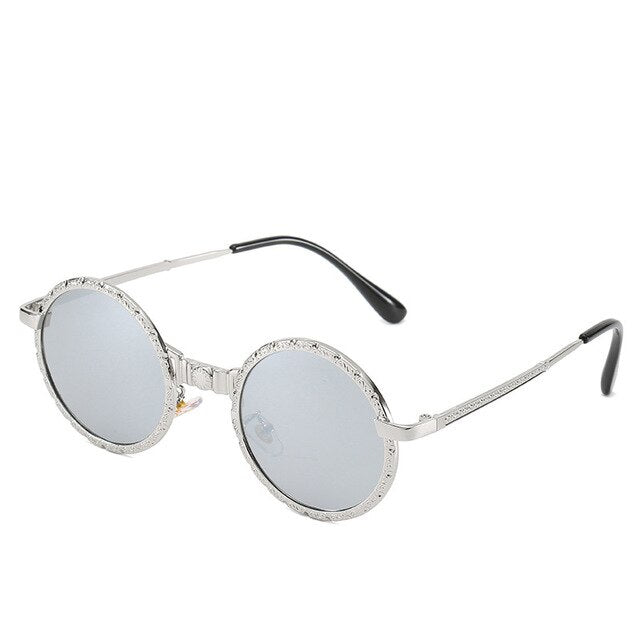Fashion Gothic Steampunk Sunglasses Men Women vintage Metal Round Sun Glasses Brand Designer Fashion goggle Mirror High Quality
