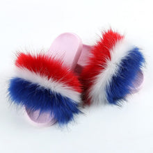 Load image into Gallery viewer, New Faux Fur Slippers Women Fur Slides Fluffy Fox Fur Sandals Flat Female Home Slippers Woman Furry Flip Flop Plush Ladies Shoes