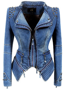 Sx motorcycle jacket rivet zipper denim jacket large size slim motorcycle dress women outdoor