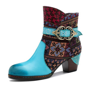 Bohemian Women Ankle Boots Retro Denim Boots Stylish Buckles Metal Decor Shoes Blue Ethnic Botas Muher Genuine Leather Shoes