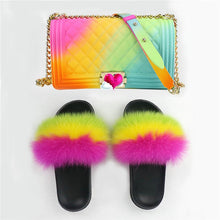 Load image into Gallery viewer, 100% real fox fur slippers/women fur slides (rainbow) women travel Set fashion bag
