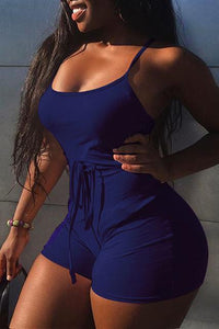 2019 Women Short Sling High Waist Jumpsuit Beach Playsuit Party Club Sexy Summer Soild Sleeveless Bangdage Backless Rompers