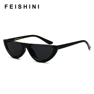 FEISHINI Unique Half Frame Glasses Women Cat Eye Sunglasses Brand Designer Fashion High Quality Ladies Sunglass Celebrity