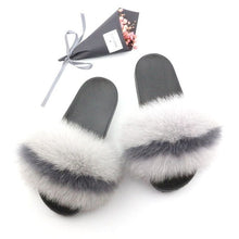Load image into Gallery viewer, Ladies Summer Real Fox Fur Slippers Furry Fur Slippers Cute Fluffy Fur Slippers Fox Fur Slides Plush Slippers Luxury Slippers