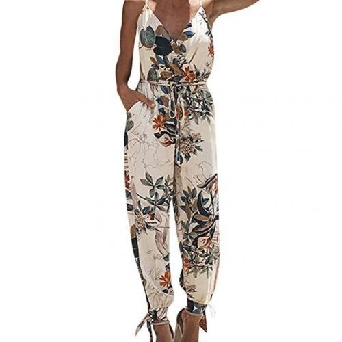 Jumpsuit Women Summer Jumpsuit Sexy Women Backless Casual Deep-V Floral Print Strappy Jumpsuits Romper Casual Jumpsuit Cotton