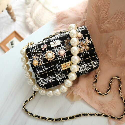 Luxury Women Handbags Designer Fashion Pearl Chain Woolen Shoulder Messenger Bags Ladies High-quality Phone Purse Louis Brand CC