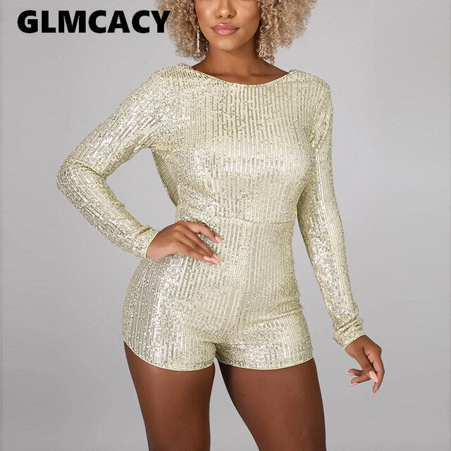 Women Sequins Sexy Rompers V-neck Shorts Female O Neck Backless Dance Evening Party Outfits Playsuits