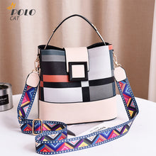 Load image into Gallery viewer, 2020 New Arrival High Quality Plaid Bucket Wide Straps Shoulder Messenger Bags Casual Fashion Women Purses белая Сумка женская