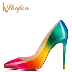 Multicolor Ombre High Thin Heels Pointed Toe Stilettos Pumps Woman Patent Leather Shoes Large Size 11 16 Fashion Mature Shofoo
