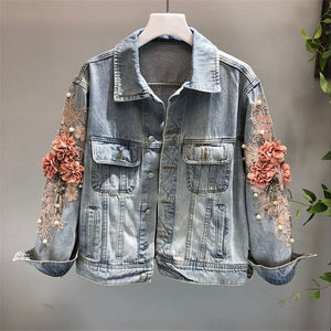2019 autumn women embroidered three-dimensional flower short wash long-sleeve denim jacket light blue female jeans jacket M131