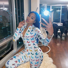 Load image into Gallery viewer, Butterfly Print Sexy Long Sleeve Bodycon Jumpsuit Rompers Women 2020 Front Zipper Clubwear Outfits One Piece Rompers Active Wear