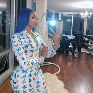 Butterfly Print Sexy Long Sleeve Bodycon Jumpsuit Rompers Women 2020 Front Zipper Clubwear Outfits One Piece Rompers Active Wear