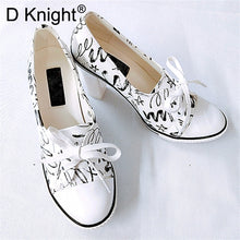 Load image into Gallery viewer, New Women Pumps Shoes Brand Designer Classic Casual Women Print 6CM/8CM High-Heeled Shoes Lace-Up High Top Lady Shoes High Heels