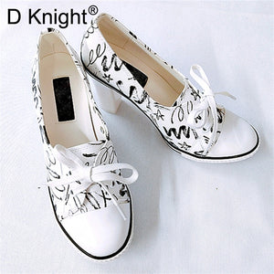 New Women Pumps Shoes Brand Designer Classic Casual Women Print 6CM/8CM High-Heeled Shoes Lace-Up High Top Lady Shoes High Heels