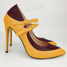 Load image into Gallery viewer, LAIGZEM Women Pumps Patchwork Pointy Toe High Heels Sandals Ladies Stiletto Shoes Woman Scarpe Donna Large Size 39 44 45 46 47