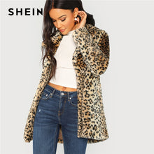 Load image into Gallery viewer, SHEIN Multicolor Elegant Highstreet Leopard Print Stand Collar Fuzzy Coat 2018 Autumn Office Lady Women Coats And Outerwear