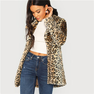SHEIN Multicolor Elegant Highstreet Leopard Print Stand Collar Fuzzy Coat 2018 Autumn Office Lady Women Coats And Outerwear
